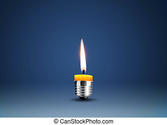 Wax candle into lighting bulb .