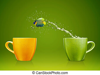 Cool Fish - Angelfish jumping out of cup with water splashes...