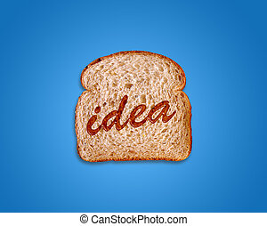 toasted bread slice with idea word wrote using honey.