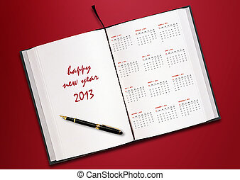 New year 2013 Calendar with conceptual image of new year...