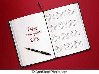 Novo, ano, 2013, Calendário