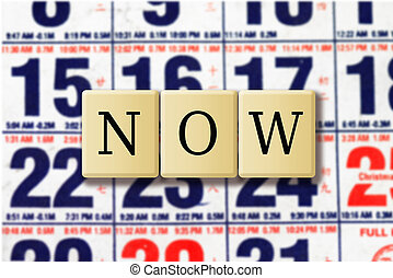Now crossword puzzle abstract with calendar background
