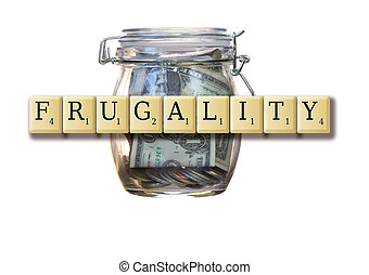 Frugality - Jumbled wooden Scrabble tiles spelling out the...