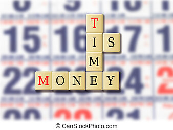 Time is money abstract with wood tile illustration.