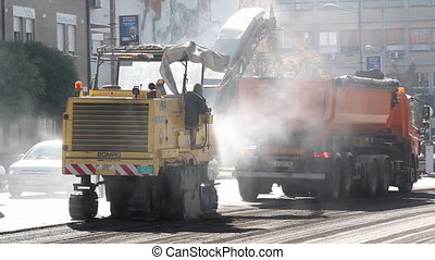 heavy machinery on road constructio