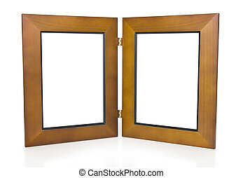 Wooden Frames - Two Wooden Hinged Picture Frames on White...