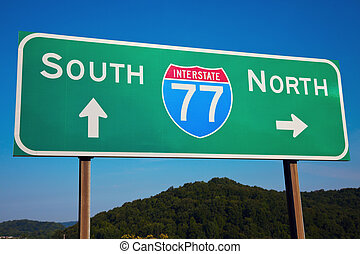South or North Highway 77 seen in Ohio, Cleveland area