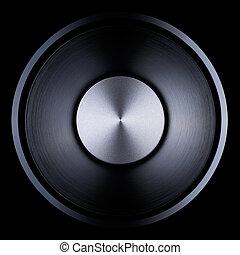 Audio speaker (loudspeaker) close-up studio shot with...