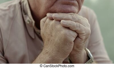 Portrait of serious old man - Seniors portrait, sad elderly...