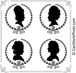 Cameo set - Female silhouettes in profile as a cameo