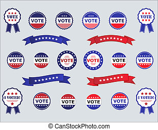 Voting Badges and Stickers for Elections in USA red, white...