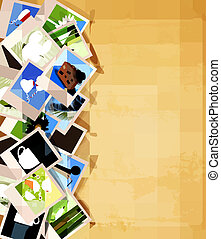 Colorful photos on old paper background. Vector