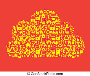 Cloud composed technological icons - illustration of cloud...