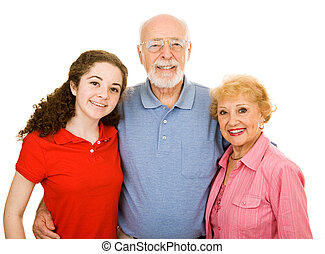 Teen with Grandparents - Teen girl and her senior...