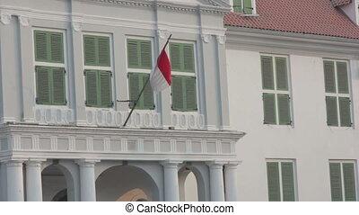 indonesian flag in kota, jakarta