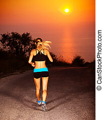 Sporty runner female - Picture of sporty blond female...
