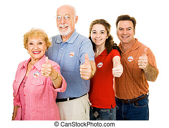 Family of Voters - Thumbsup - Family of American voters...