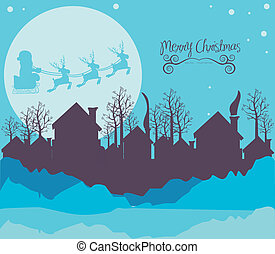 Neighborhood on the Christmas eve - illustration of...