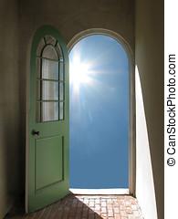 Arched Doorway to Starburst Sun