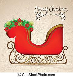 illustration of sleigh , on arabesque background,...