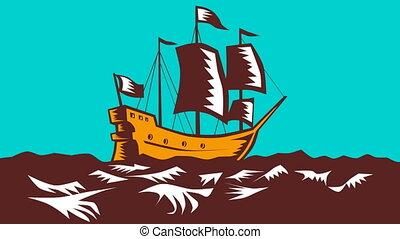 Tall Sailing Ship Retro Woodcut - 2d animation of a tall...