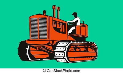 vintage bulldozer tractor retro - 2d animation of a farmer...