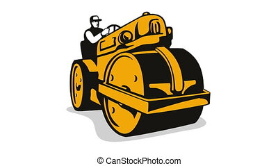 Vintage Road Roller Retro - 2d animation of vintage road...