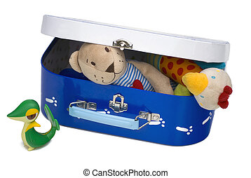 Toy box closed - Box with children toys isolated on white