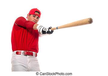 Baseball Player - Baseball player with bat. Studio shot over...
