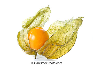 Physalis - physalis yellow ripe berries on a white...