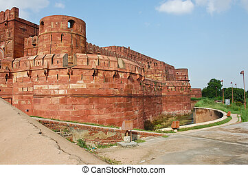 Agra Fort, India - Red sandstone of Agra Fort, India