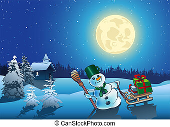 Christmas Night - Idyllic Background Illustration, Vector