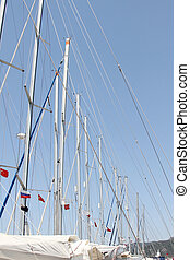 Many masts against the sky - Close-up of a lot of masts...