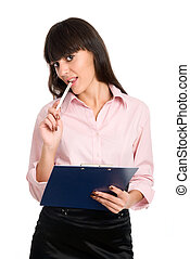 Cheerful business girl with a clipboard in his hands on a...