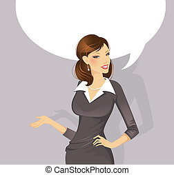 Businesswoman speaking - Vector illustration of...