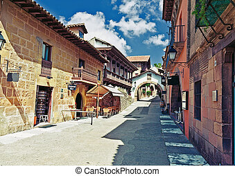Spain - Poble Espanyol traditional architectural complex in...