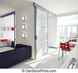 apartment - modern style apartment concept illustration