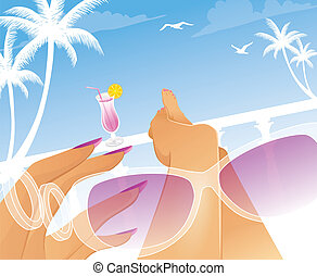 Summer woman in swimsuit - Vector illustration of Summer...