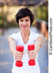 active middle aged woman exercise