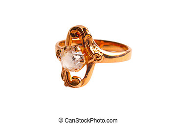 Golden ring with diamond, Isolated on white background