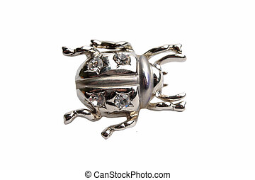 Silver brooch with bug