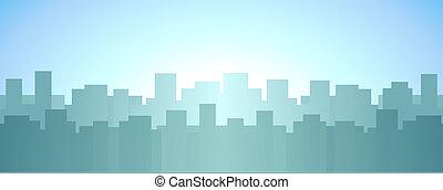 skyscraper, sunrise in city backgro
