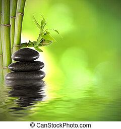bambu, troncos, fundo, spa, decoração