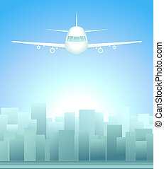 background with city and plane in s