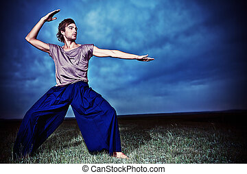 martial art - Fashionable male model posing in the field...