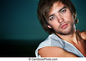 natural man - Portrait of a handsome male model posing in...