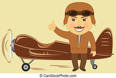plane with pilot showing thumb up