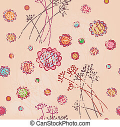 Floral pink seamless wallpaper in pastel colors