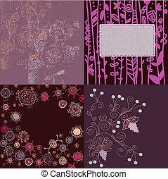 Floral backgrounds set hand drawn design