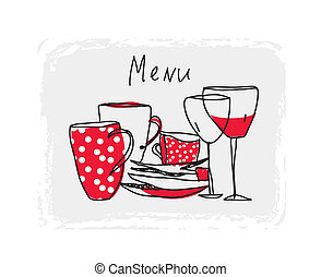 Menu hand drawn design with pottery and glasses